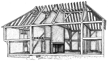 A cutaway drawing of the house