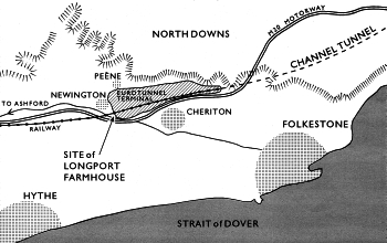 Map showing the original site of Longport Farmhouse