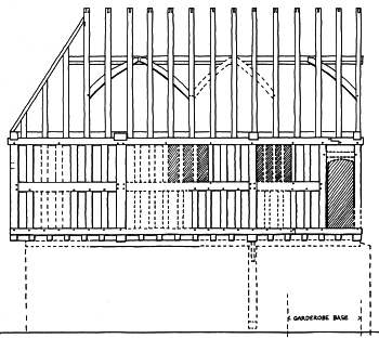 Elevation of the original outside wall of the cross wing