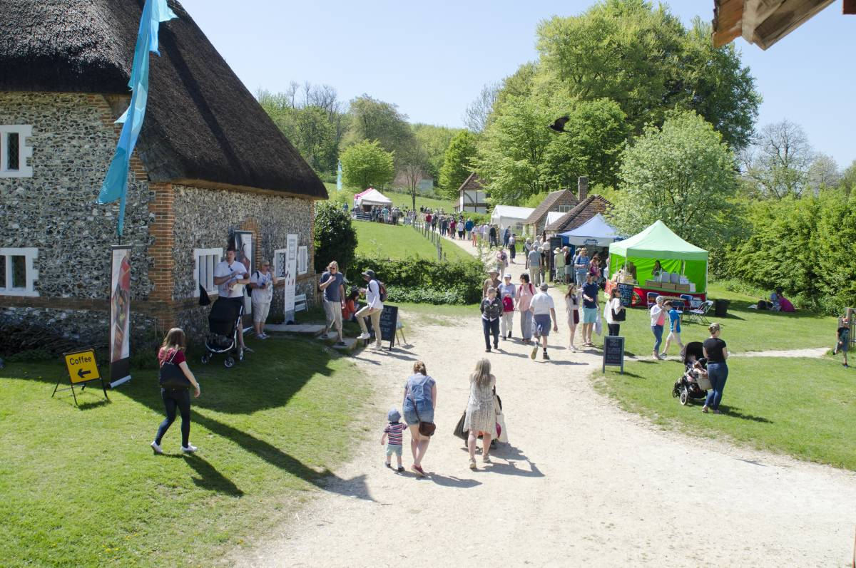 Visitors attending the food festival