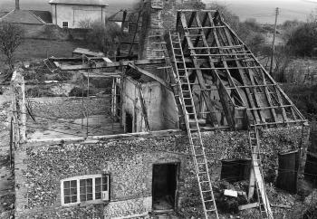 The Walderton house during dismantling