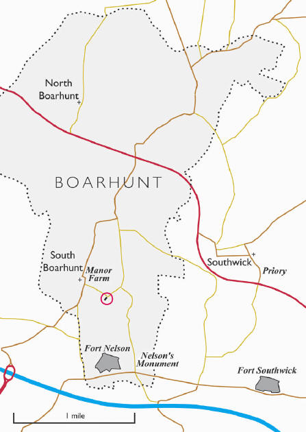 Map showing Boarhunt parish and the position of the hall house (red circle)