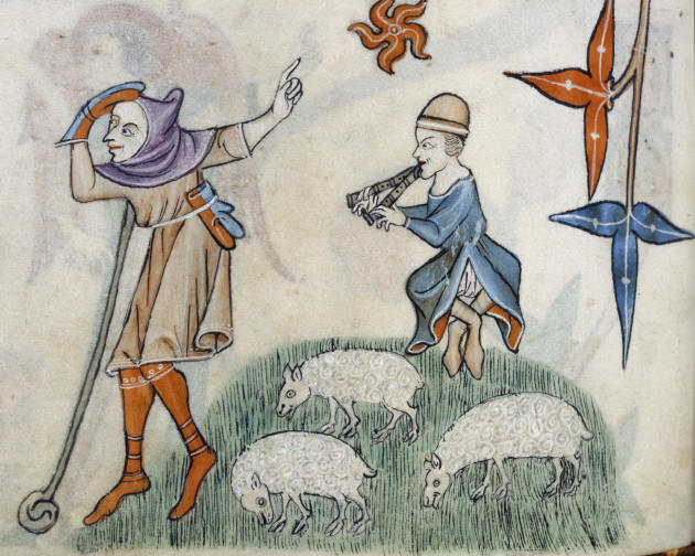Shepherds. Smithfield Decretals. England early 14th century