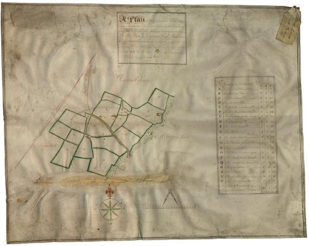 A map of Pendean and Horselands farms in 1781.