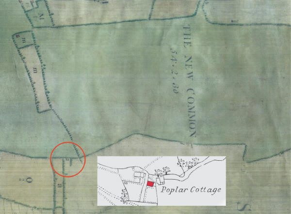 Poplar Cottage (circled in red) as shown on a map of c.1739