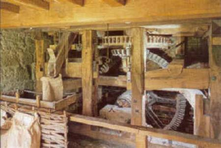 De watermolen's interieur