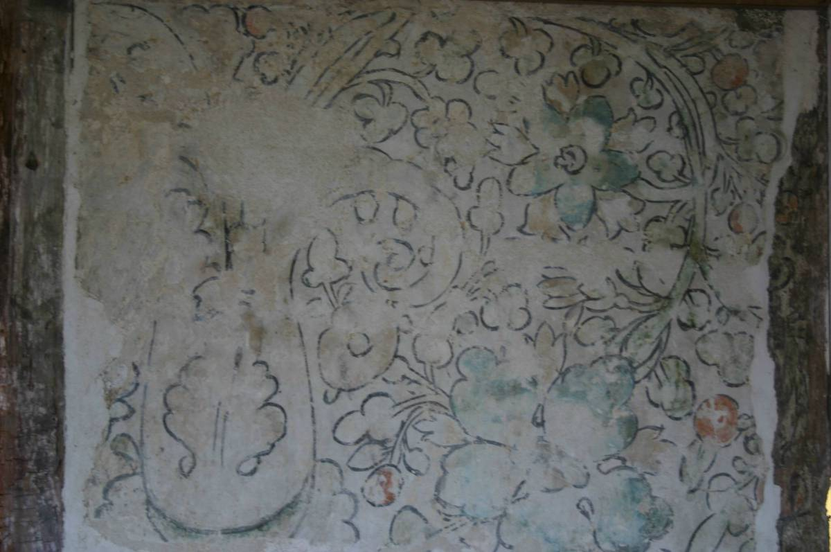 Decorative wall paintings house extension from Reigate, Weald & Downland Museum