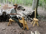 MERVYN MEWIS Independent Woods Worker My interests are in trees, woodlands, timber and traditional methods of working to produce furniture and musical instruments. I'm involved in ancient woodland management to provide a source of natural raw materials from which are made all manner of distinctive and thought-provoking works. The Surrey Hills Wood Works is a purpose-built teaching barn located in Bramley where students are encouraged to gather an understanding between the importance in informed woodland management to provide wildlife habitat potential and a perpetual timber crop. This is used to explore the processes of traditional woodwork using simple tools including drawknives and pole lathes. I also teach introduction to Chair Making Courses are held at the Weald and Downland Museum. A range of musical instruments are created from locally sourced suitable hardwoods has led to specific interest in making and playing Hammer Dulcimers and Bowed Psalteries. The instruments are made to-commission, and acoustic musical bookings are undertaken for weddings, corporate and other occasions, often accompanied by harp-maker and player Kathryn Young. I have undertaken various relevant qualifications in City & Guilds Bench Joinery (Guildford), specialising in short courses in Musical Instrument Making and Chair Making at West Dean (Sussex). Studying Practical Habitat Management and Estate Skills at Merrist Wood (Guildford) led on to Post Graduate studies in Environmental Conservation at Birkbeck University, London. My exhibitions are mostly where work is commissioned and sold, venues include Godalming Museum, National Trust Clandon Park, National Trust Leith Hill Place, Birtley Sculpture Garden, High Clandon Vineyard and Hatfield Living Crafts. The Weald and Downland Museum's Windlesham Carpenters Workshop is brought to life with various wood projects during the week, and I frequently play music round the Museum on Show weekends. Green Wood Works www.surreyhills.org/local-bus
