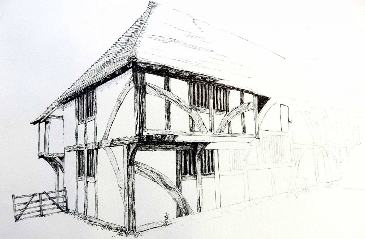 Drawing buildings in pen and ink   Weald and Downland