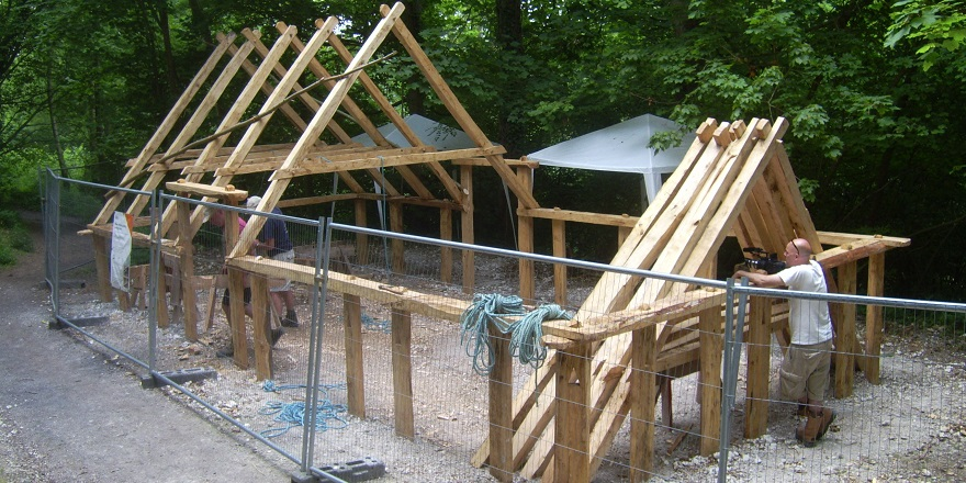The roof timbers are put in place