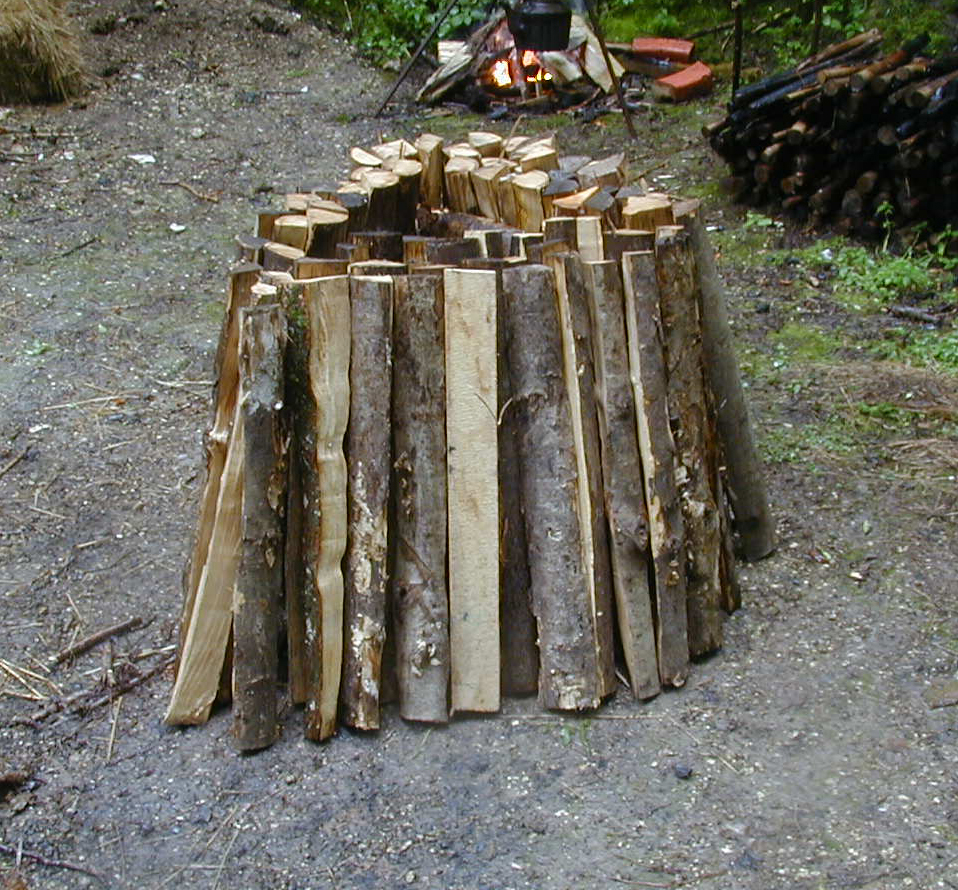 Stacking the wood - thickest pieces at the centre