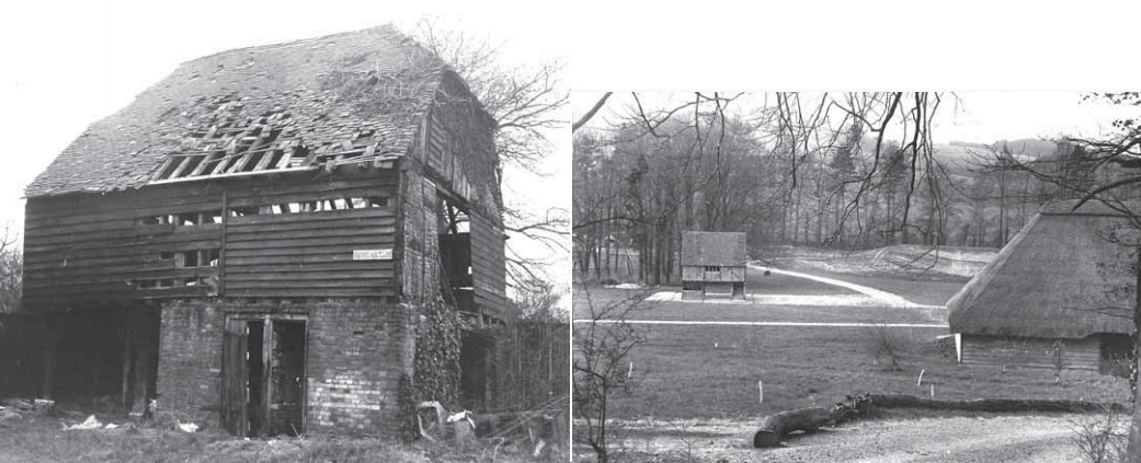 Titchfield Market Hall before dismantling and after re-erection at the Weald & Downland Living Museum