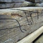 May Day Farm apotropaic carpenter's marks on timbers