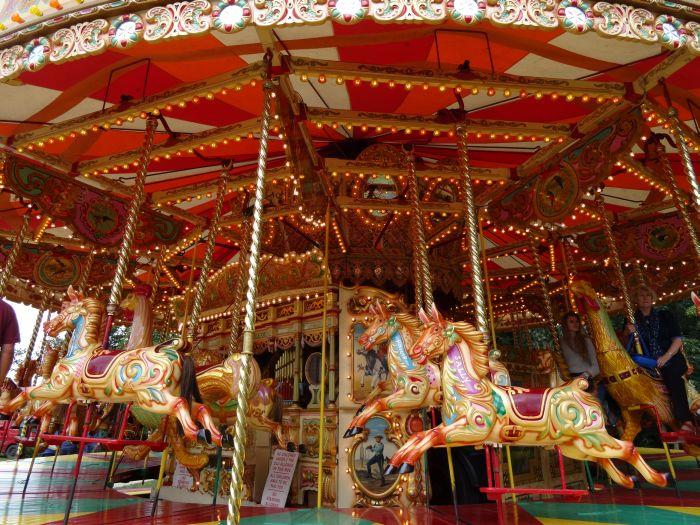 Steam powered merry-go-round
