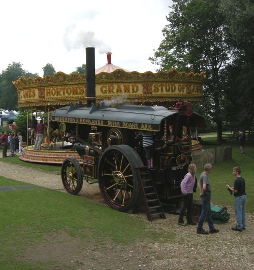 Steam view of engine and gallopers