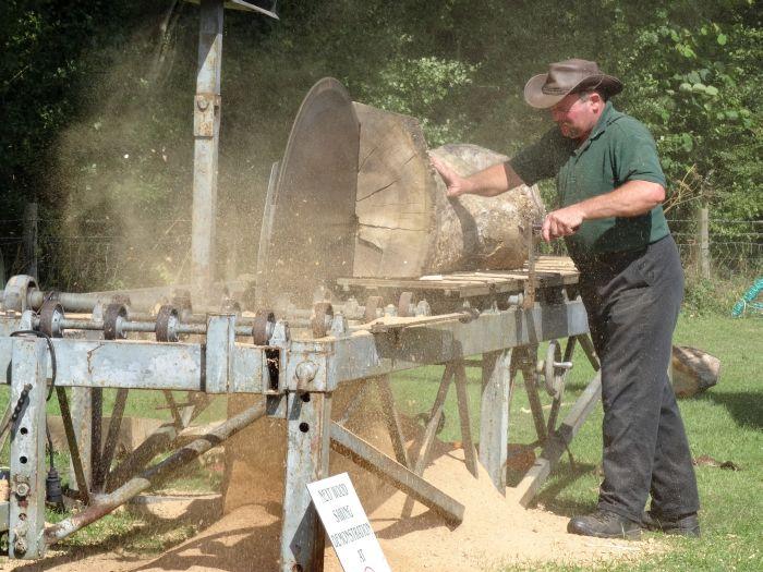 Wood saw bench demonstration