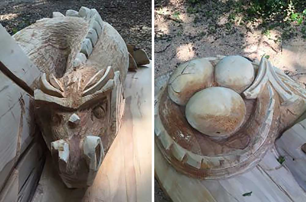 Bench dragon head and tail detail