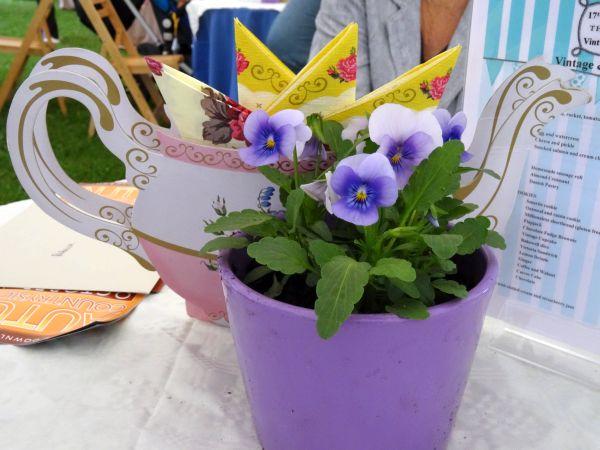 Tea tent table decorations