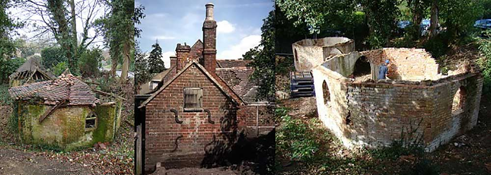 Montage of Eastwick dairy and Newdigate bakehouse