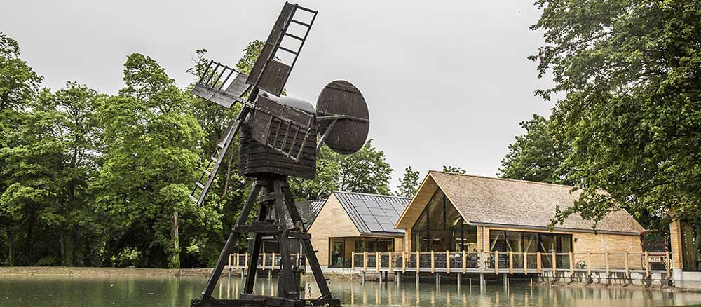 The windpump in front of the Gateway Project