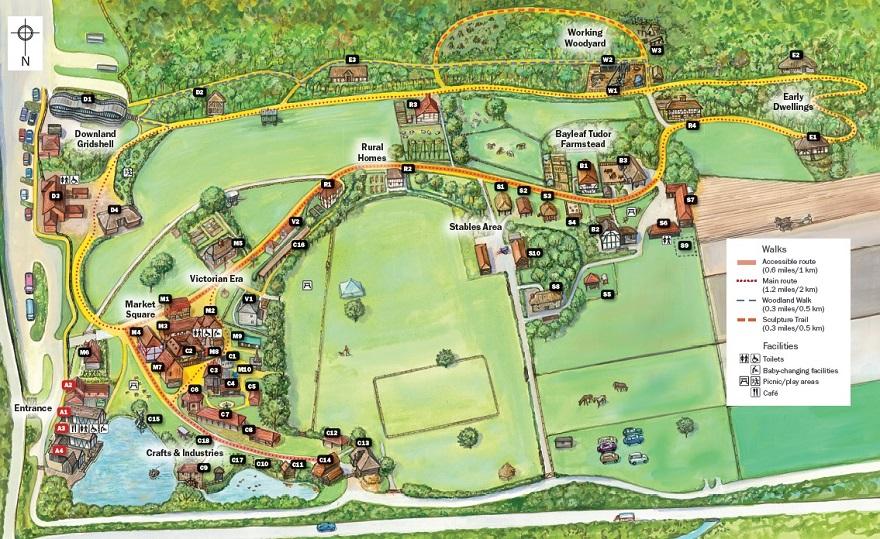 Weald & Downland Living Museum map