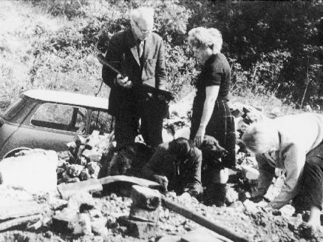 Roy Armstrong and Marjorie Hallam at the dismantling of Pendean Farmhouse 1968