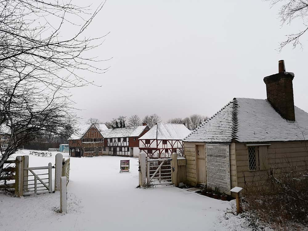 Winter snow scenes at the Museum, Singleton, West Sussex