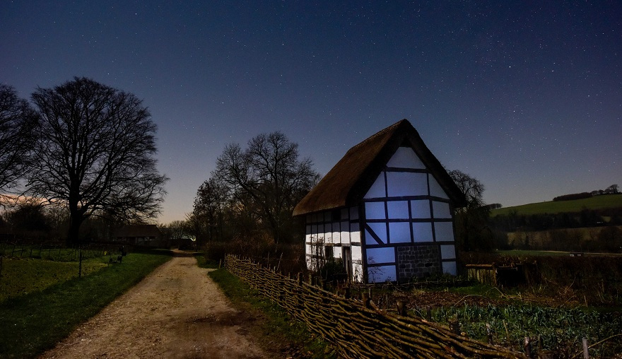 poplar cottage at night