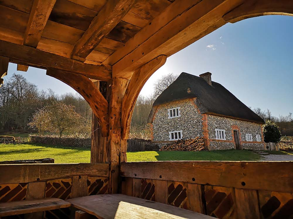 Traditional wood beams at the Weald & Downland Living Museum