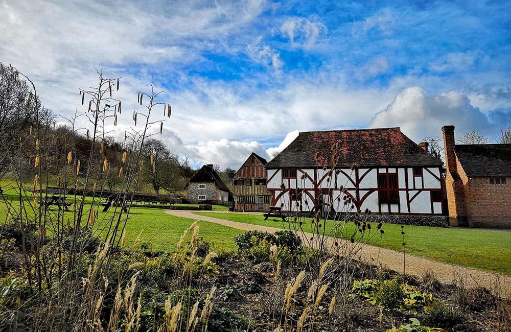 Weald & Downland Museum's historic buildings in the summer