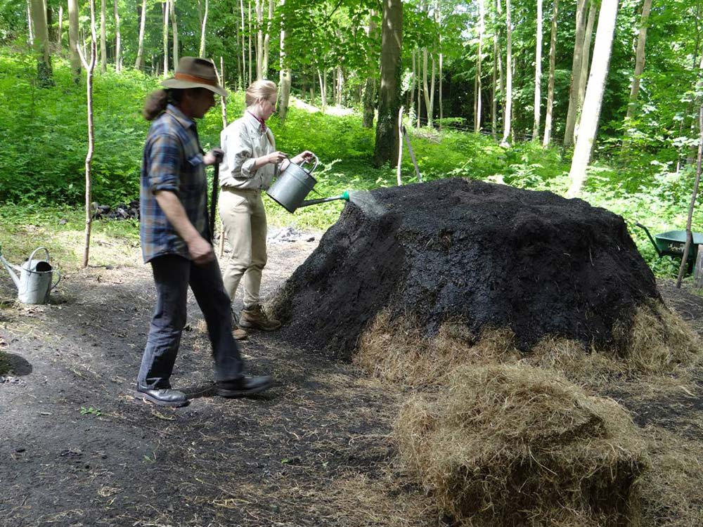 Preparing for the charcoal burn at the Museum