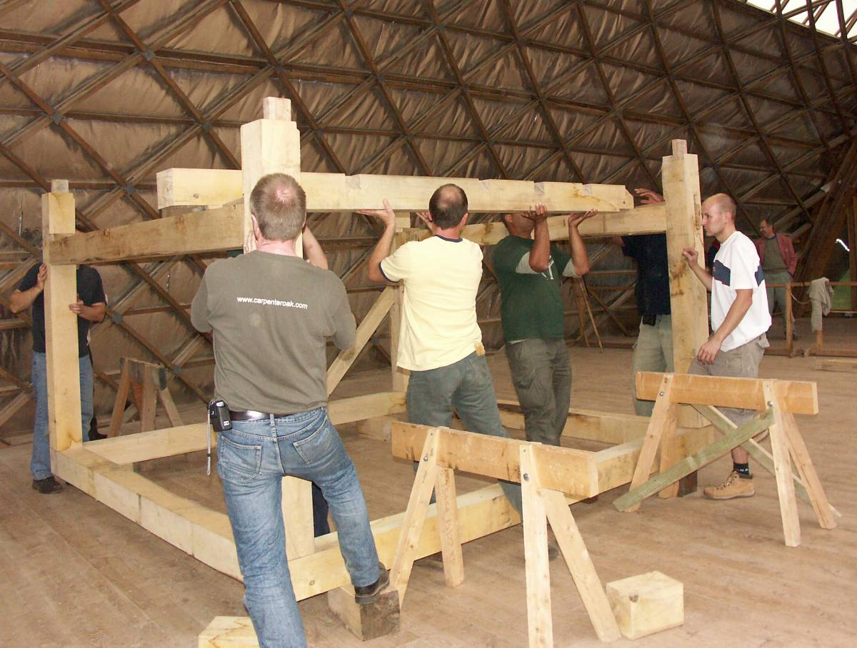 Square rule frame being erected