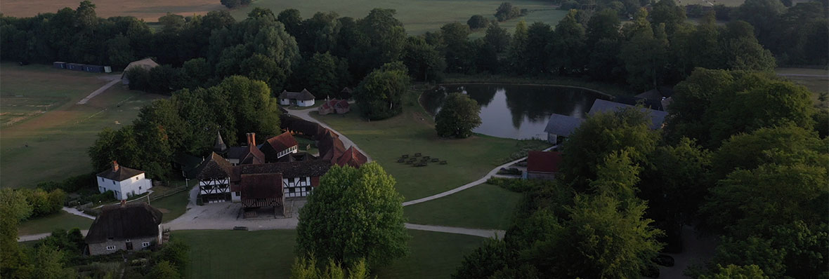 Aerial shot of The Weald and Downland Living Museum