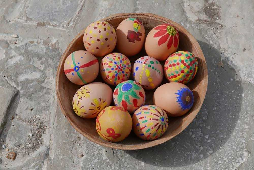 Bowl of hand-painted Easter eggs