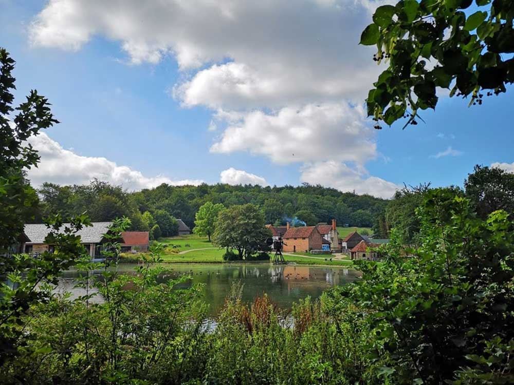 The Weald & Downland Living Museum countryside and lake