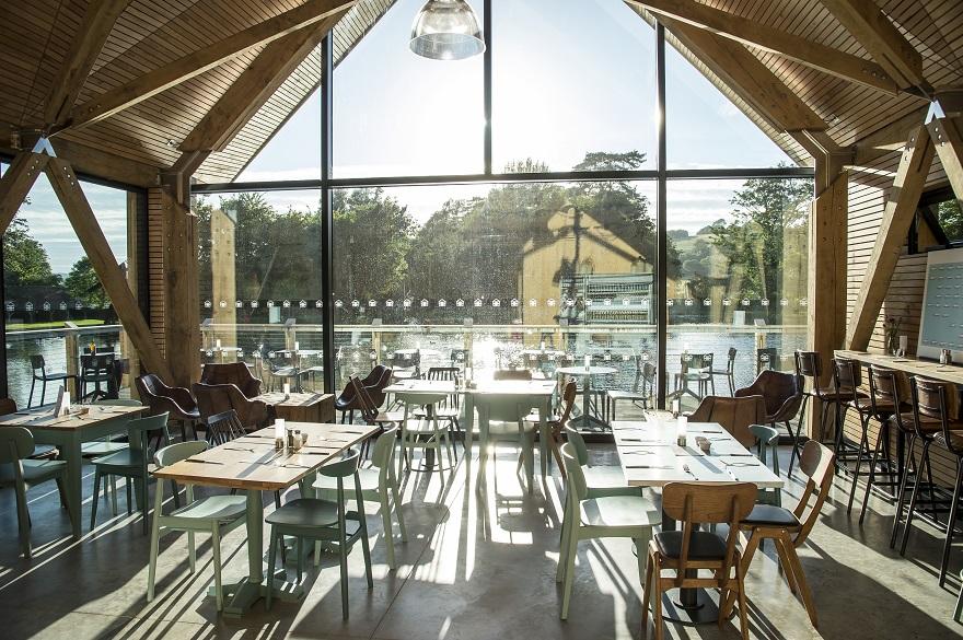 Café interior with waterside views