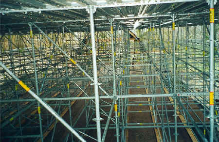 Gridshell scaffolding interior