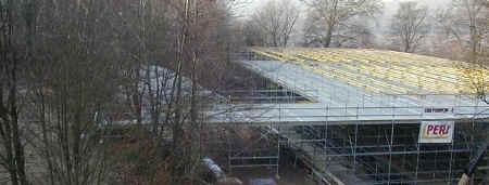 Gridshell scaffolding bridge