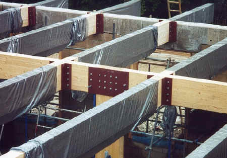 Gridshell glulam beams close-up