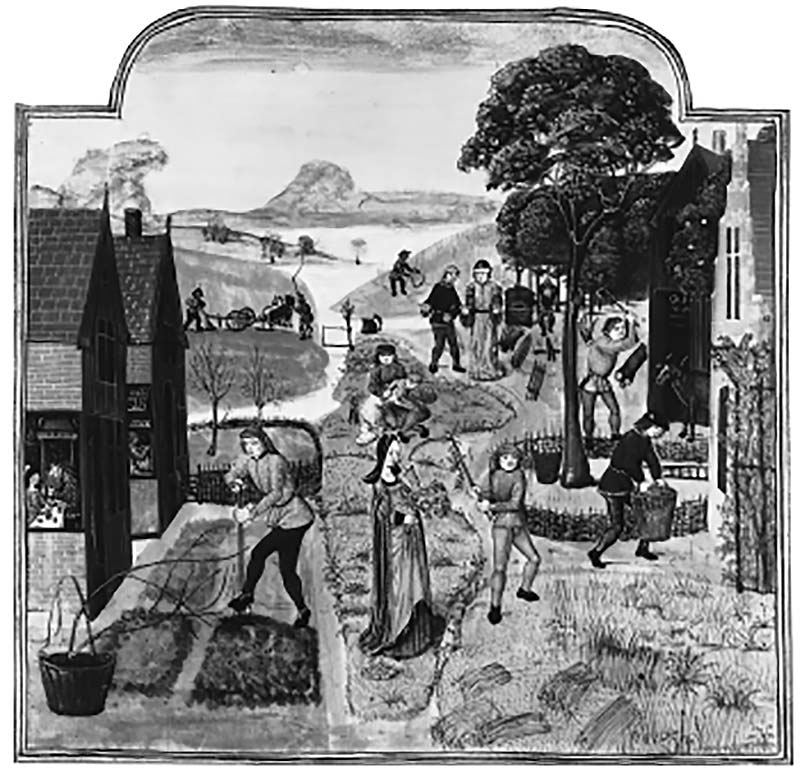 manuscript illustration was made in the late 15th century and shows a range of rural activities