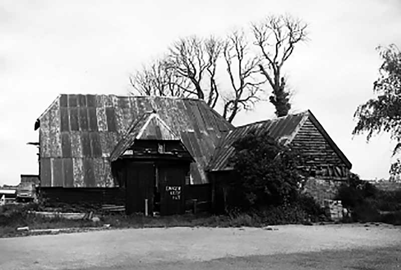 Court barn on its original site before dismantling in 1977