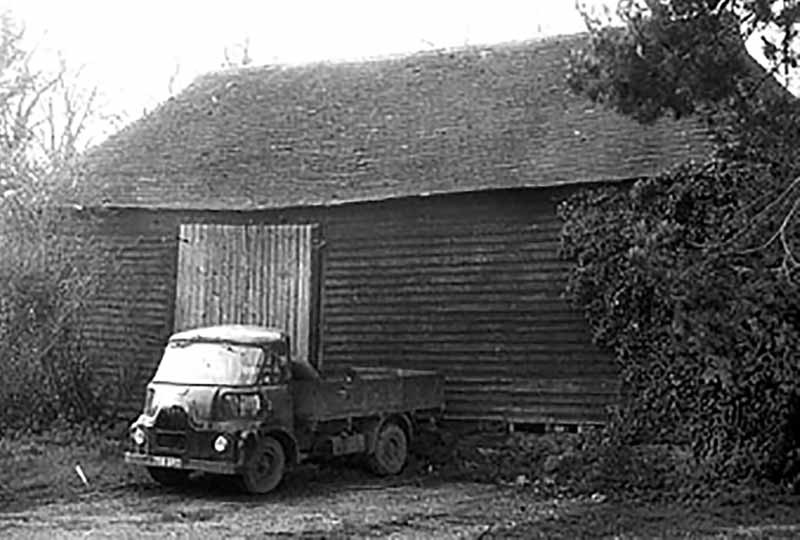 Cowfold barn on its original site before dismantling