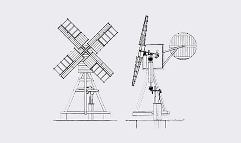 Elevation and section of the windpump