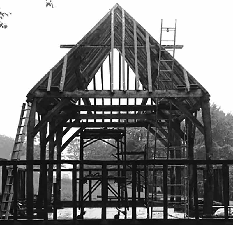 Hambrook Barn during re-erection in 1972