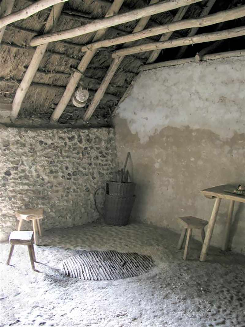 The hearth in the Hangleton cottage