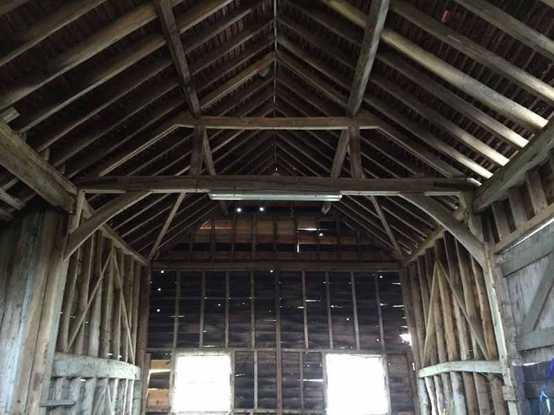 Inside May Day barn