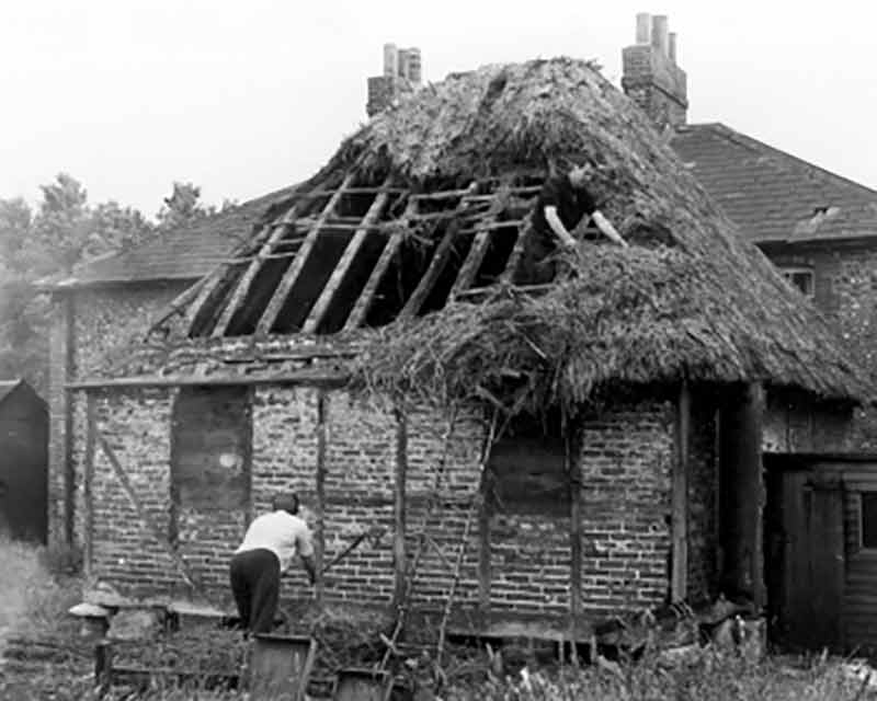 Littlehampton granary on its original site being dismantled in 1969