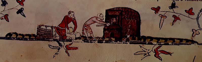 Medieval bread oven. Smithfield Decretals (by permission of The British Library)