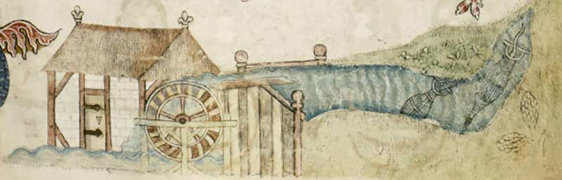 Medieval mill (by permission of The British Library)