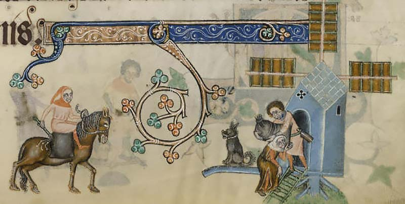 Flour mills for breadmaking from the Luttrell Psalter (by permission of The British Library)